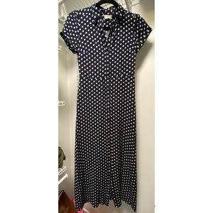 LOFT Navy Blue Floral Shirtdress 00P